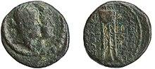 Eine Münze mit einer Königin und einem König.  Das Porträt der Königin ist vorne.