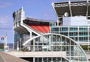 West 3rd (RTA Rapid Transit station) - Image: Cleveland Rapid Transit station on the Waterfront Line at Cleveland Browns Stadium in Cleveland, Ohio