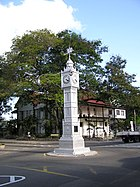 The famous clock tower in the centre of Victoria, capital of Seychelles.