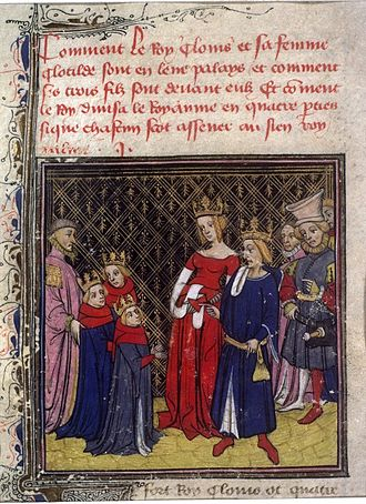 Grandes Chroniques de France - Clovis and his family, 14th-century