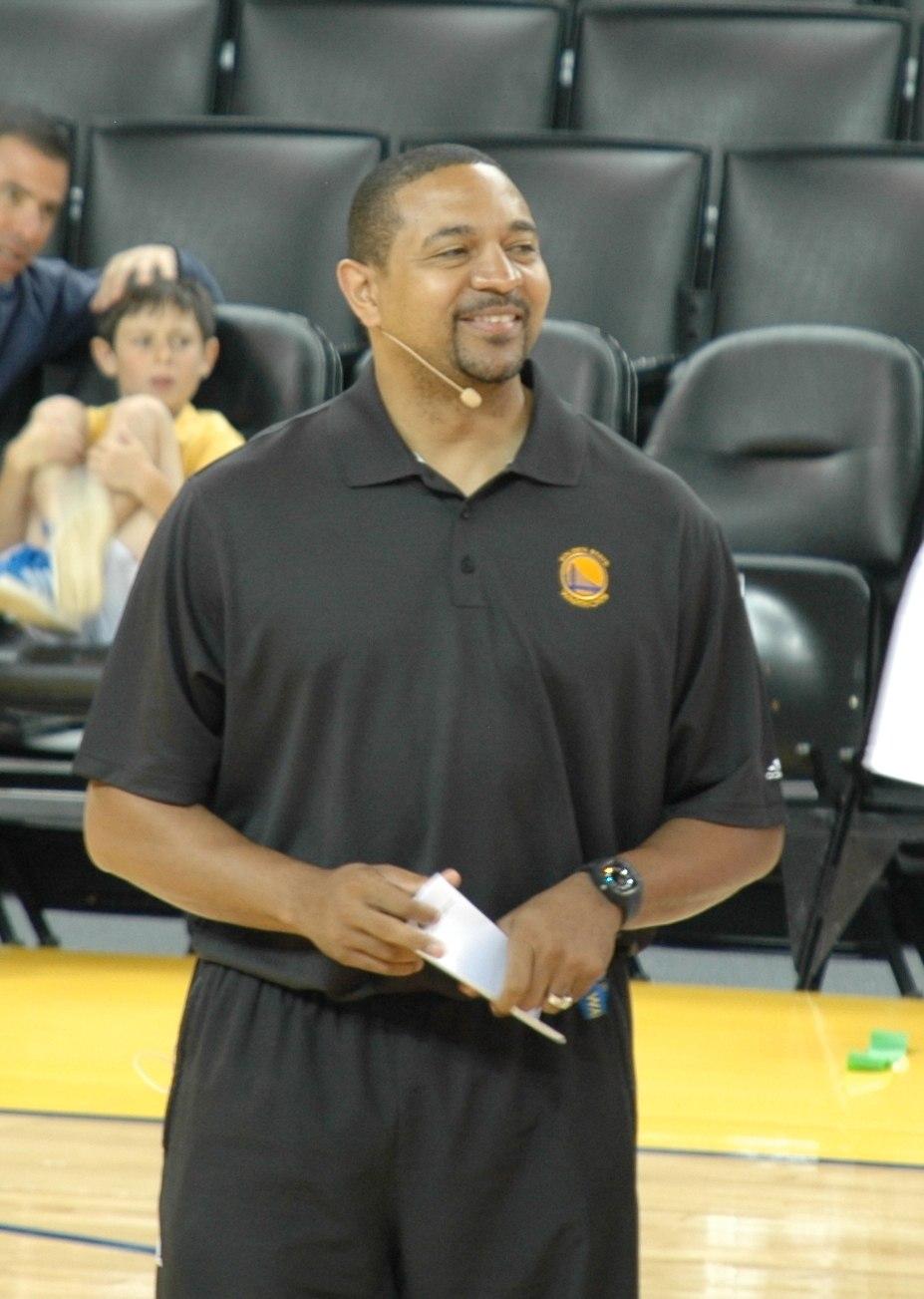Coach Mark Jackson at Warriors open practice Oct 13, 2012