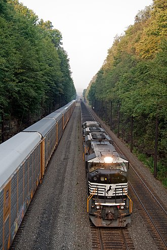 Norfolk Southern Railway - Two NS trains heading east along the Pittsburgh Line