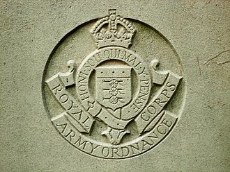 Royal Army Ordnance Corps - Coat of Arms of the Royal Army Ordnance Corps (in the reign of George VI) from CWGC headstone.