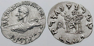 Amyntas Nikator - Coin of Amyntas Nikator. Obv: Bust of king. Rev: Seated Zeus.