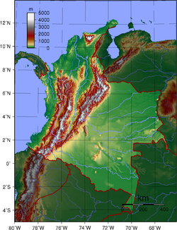 Topography of the 31 depaColombia (not including San Andres y Providencia)