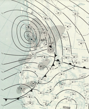 Columbus Day Storm of 1962 - Image: Columbus Day Storm 1962 10 13 weather map