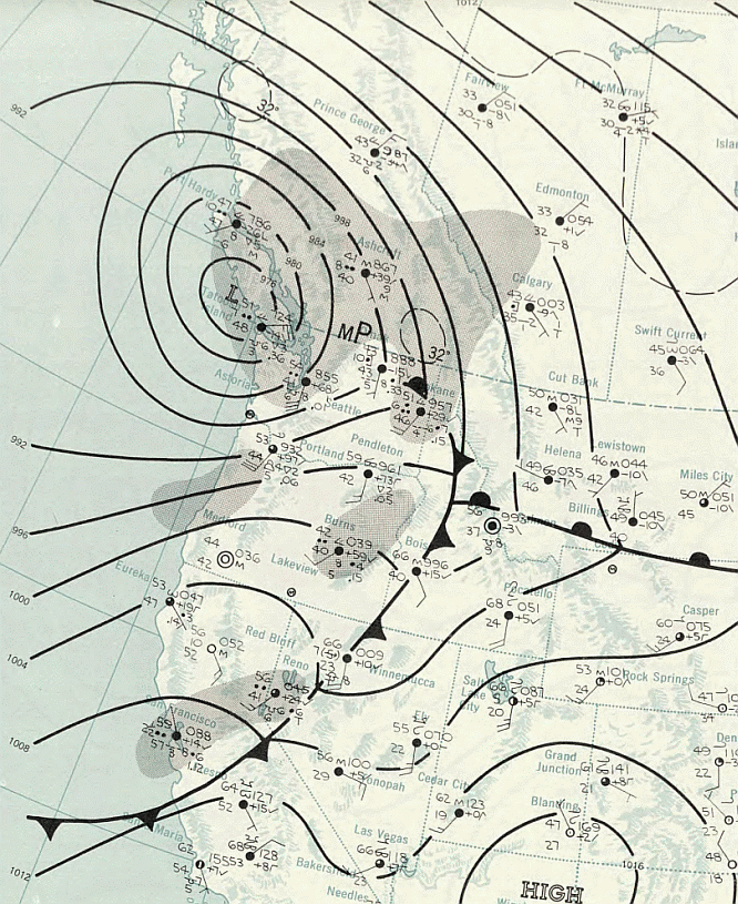 Columbus Day Storm 1962-10-13 weather map