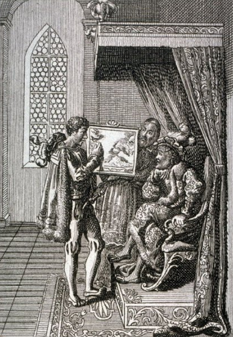Columbus offers his services to the King of Portugal; Chodowiecki, 17th c. Columbus offers his services to the King of Portugal - Daniel Nicholas Chodowiecki (cropped).png