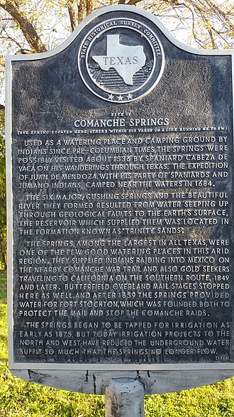 Fort Stockton, Texas - Comanche Springs Texas Historical Marker