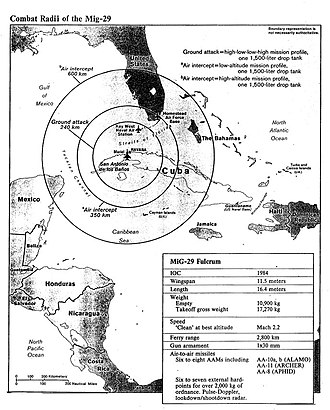 Cuban Revolutionary Armed Forces - CIA map showing the estimated range of Cuban MiG-29 Fulcrum jets.