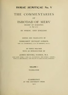 Commentaries of Ishodad of Merv, volume 1.djvu