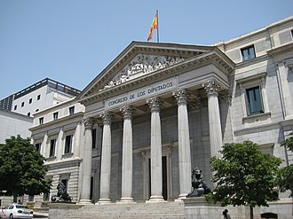 Politics of Spain - Façade of the Palace of the Cortes, seat of the Congress of Deputies