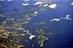 Norwalk, Connecticut - Aerial view of Norwalk Harbor and vicinity