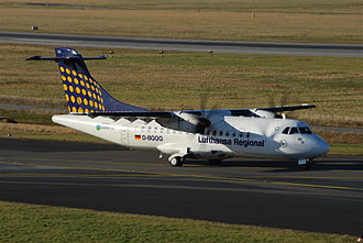 Contact Air - A Contact Air ATR 42 taxiing at Düsseldorf Airport in 2010, featuring the Lufthansa Regional branding.