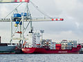 Container ship Sirrah, IMO 9255402, Unifeeder at container terminal Tollerot, port of Hamburg-1029240.jpg