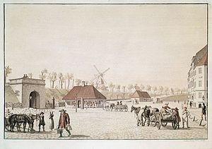 City Hall Square, Copenhagen - The hay market in 1809. Painting by C. W. Eckersberg