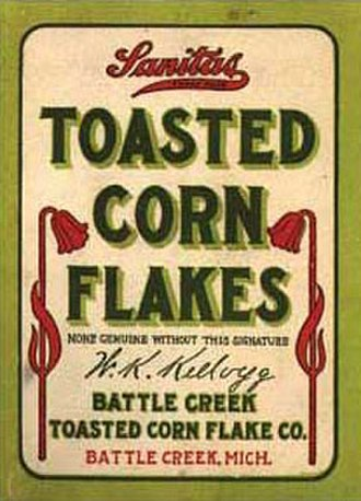 Kellogg's - First Sanitas corn flakes package (1906), later to become the Kellogg Food Company in 1908