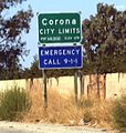 Corona, California southeastern city limit sign.JPG