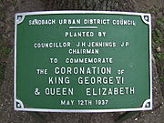 Coronation tree plaque in Sandbach Park 12 May 1937.JPG