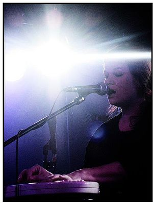 Cortney Tidwell - Tidwell performing live with Omnichord on Boys tour, England, 2010.