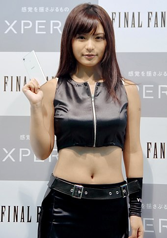 The Advent Children version of Tifa, as portrayed by gravure idol Mizuki Hoshina promoting Sony Xperia at TGS 2014 Cosplay of Tifa Lockhart by Miduki Hoshina at Tokyo Game Show 20140918.jpg