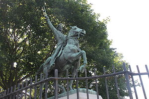 Commemoration of Casimir Pulaski - Pulaski equestrian statue at Pulaski Park in Manchester, New Hampshire