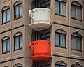Cream and red coffee cup-shaped balconies, Niimi Tableware, Kappabashi Dougu Street, Tokyo, Japan.jpg