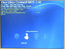 Cromwell boot menu on an Xbox