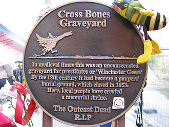 Cross Bones - A plaque on the gates, funded by Southwark Council