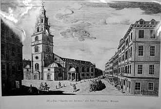 To Anacreon in Heaven - The Crown and Anchor tavern, where the Society met from the late 1770s, is visible on the right.  The Church on the left is St Clement Danes.