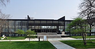 Illinois Institute of Technology - S. R. Crown Hall on the Illinois Institute of Technology campus. Designed by Ludwig Mies van der Rohe in 1956, it was designated a National Historic Landmark in 2001.