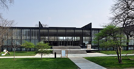 S. R. Crown Hall on the Illinois Institute of Technology campus. Designed by Ludwig Mies van der Rohe in 1956, it was designated a National Historic Landmark in 2001. Crown Hall 1.jpg