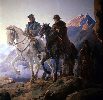 Crossing of the Andes - Generals José de San Martín (left) and Bernardo O'Higgins (right) crossing the Andes.