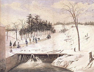 Don River (Ontario) - An 1836 watercolour depicting people curling on the Don River.