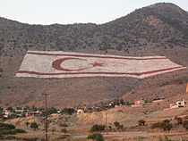 Cyprus north - Turkish flag on mountain.JPG