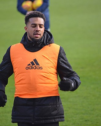 Cyrus Christie - Christie warming up for Fulham in 2018