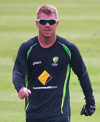 David Warner (pictured in 2014) posted the first highest score at the 2019 Cricket World Cup with 166 against Bangladesh. DAVID WARNER (11704782453).jpg