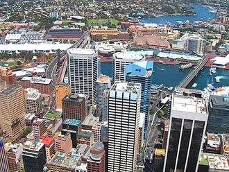 Western Distributor (Sydney) - Western Distributor today (overpass on extreme top-right and middle-left of the picture).