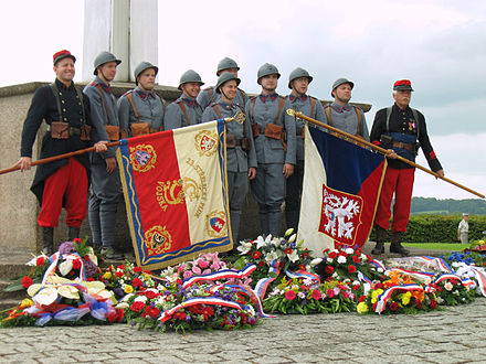 Remembrance Ceremony at the memorial of 30 June 2013 with the unit in uniforms of CS legionnaires in France Darney, pamatnik, legionari.JPG