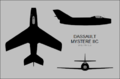 Dassault Mystere IIC three-view silhouette.png