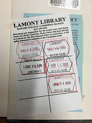 Library circulation - Date due slip from Harvard's Lamont Library