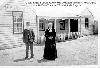 Adelaide Lead, Victoria - Post Office, Postmaster and his wife abt.1890s