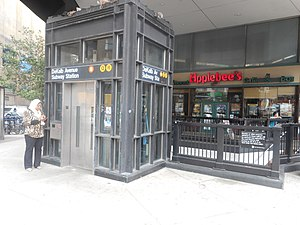 DeKalb Avenue (BMT Fourth Avenue Line) - Elevator and stair outside the Applebee's restaurant