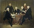 De vier regenten, de secretaris en de binnenvader van het Leprozenhuis te Amsterdam, 1773 Rijksmuseum SK-C-586.jpeg