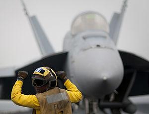 Defense.gov News Photo 110405-N-DR144-192 - Airman Tamara Sewell directs an F A-18E Super Hornet aircraft aboard the aircraft carrier USS Carl Vinson CVN 70 underway in the Arabian Gulf on.jpg