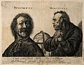 Democritus laughing and Heraclitus weeping, with a globe Wellcome V0006667.jpg