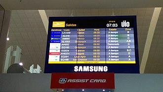 Mariscal Sucre International Airport - Departures screen