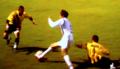Deportivo Italia Striker Andres De Abreu leaving two defenders from Deportivo Tachira in the dust during a 2007 Venezuelan first division game.png