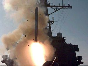 Legitimacy of the 2003 invasion of Iraq - A Tomahawk cruise missile (TLAM) is fired from an Arleigh Burke-class destroyer during the fourth wave of attacks on Iraq in support of Operation Desert Fox