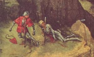 Suicide in antiquity - Pieter Bruegel the Elder, The Death of Saul (detail), 1562.